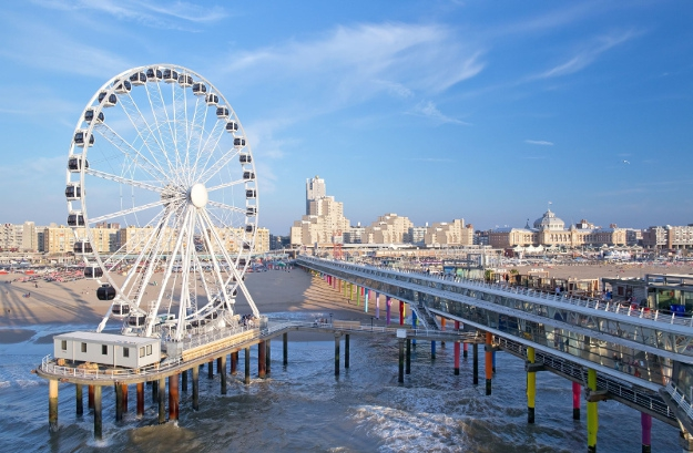 Europe's First Ferris Wheel Over Sea Opened on The Pier in Scheveningen